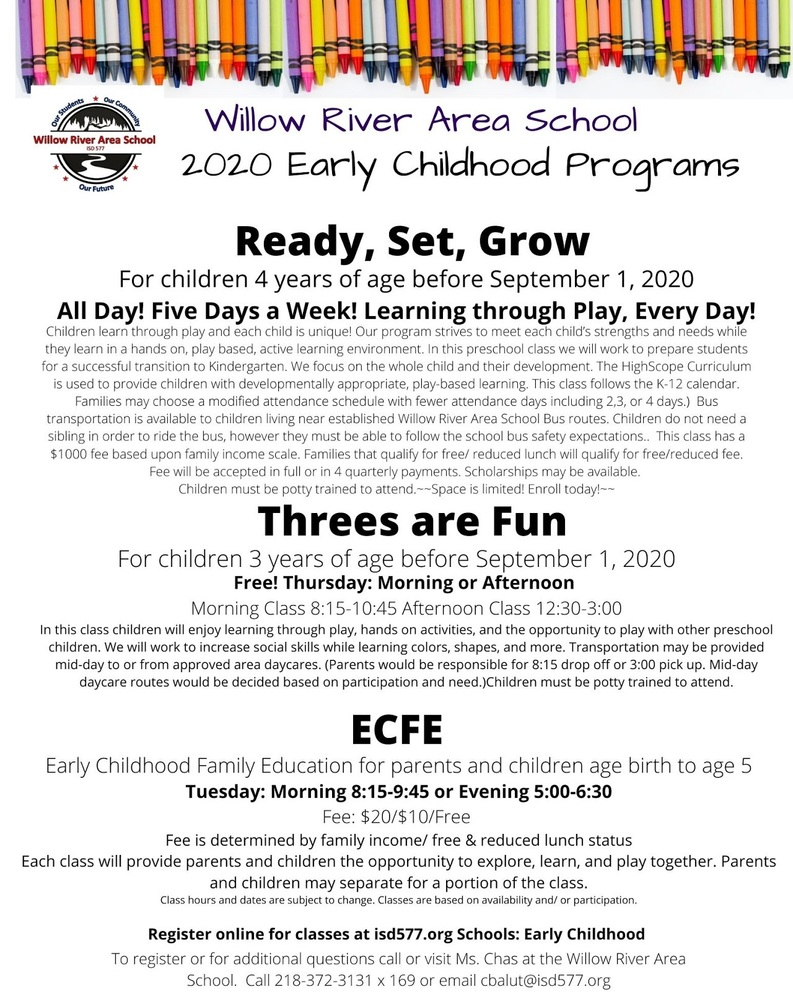 Registration Now Open for Fall 2020 Ready, Set, Grow Preschool and ECFE Classes