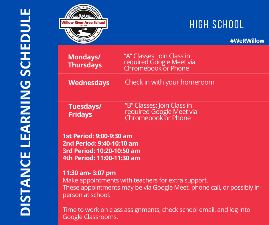 High School Distance Learning Schedule